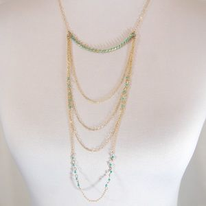 Jewelry - Multi Strand Layered Beaded Chain Necklace